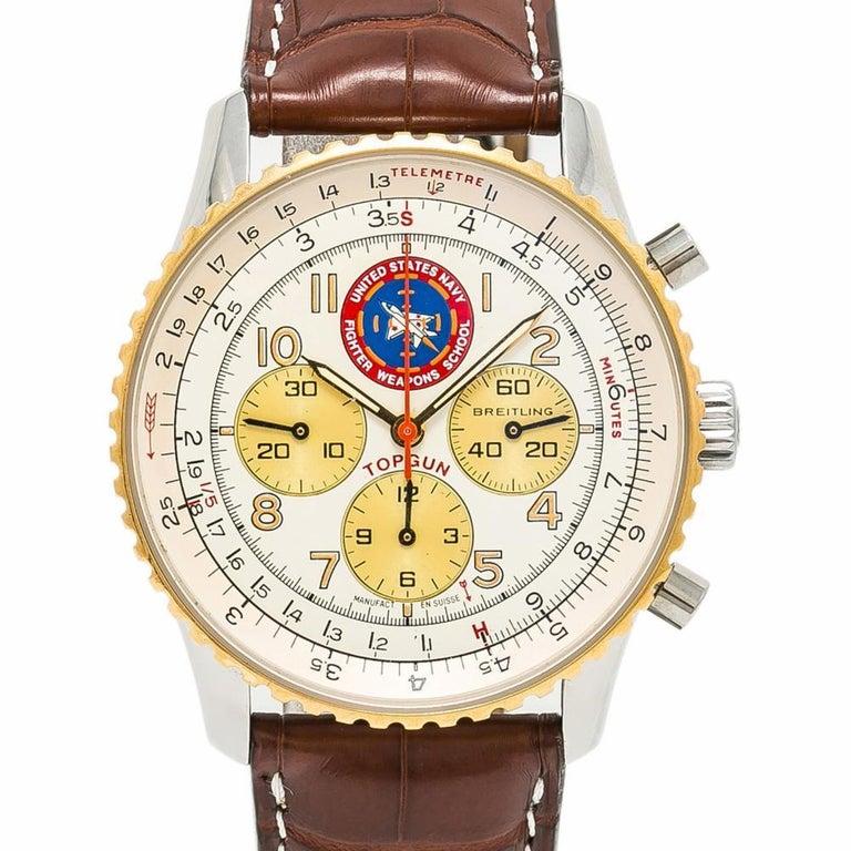 Breitling Navitimer 92 Top Gun D30022 Men S Automatic Watch 18k Yg