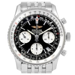 Breitling Navitimer Black Baton Dial Steel Men's Watch A23322 Box Papers