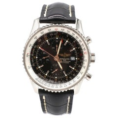 Breitling Navitimer Chronograph A24322 Black Dial Leather Strap Watch