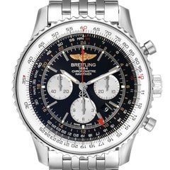 Breitling Navitimer GMT 48 Black Dial Steel Mens Watch AB0441 Box Papers