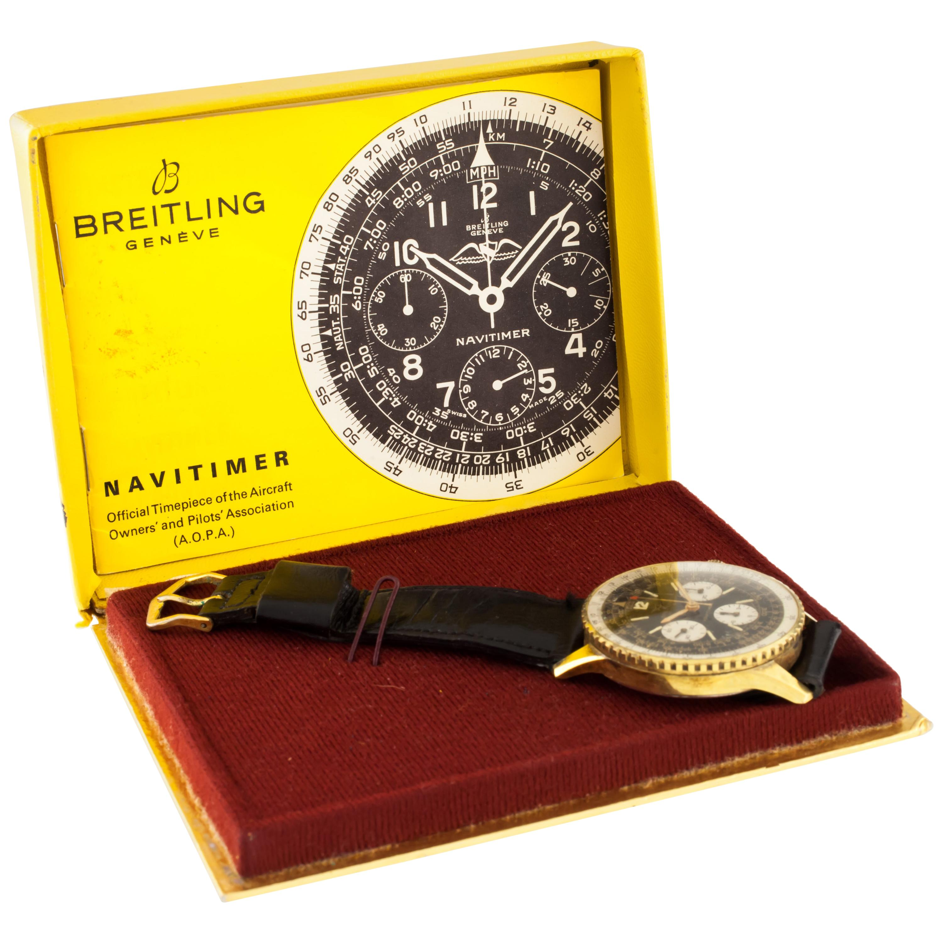 Breitling Navitimer Gold-Plated Chronograph Watch 806 with Box and Papers