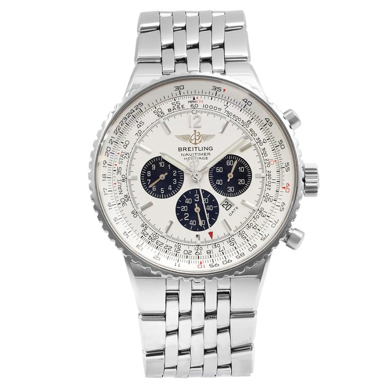 Breitling Navitimer Panda Silver Dial Steel Automatic Mens Watch A35350 Mint B P