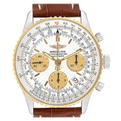 Breitling Navitimer Steel Yellow Gold Brown Strap Watch D23322 Box