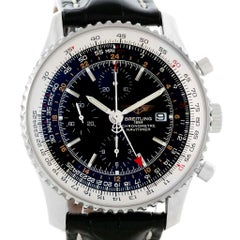 Breitling Navitimer World Black Dial Steel Automatic Men's Watch A24322