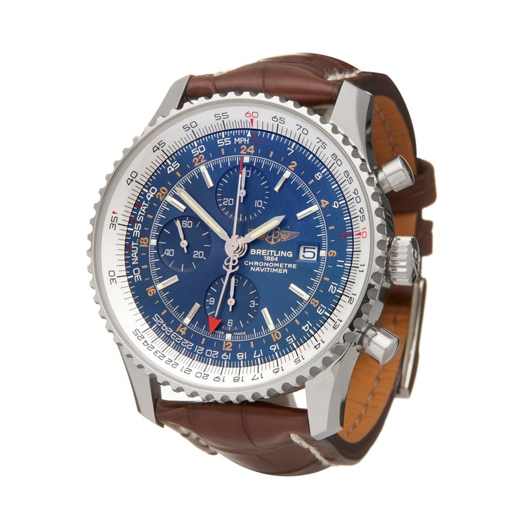 Reference: W5997 Manufacturer: Breitling Model: Navitimer Model Reference: A2432212/C651 Age: 7th December 2018 Gender: Men's Box and Papers: Box, Manuals and Guarantee Dial: Blue Baton Glass: Sapphire Crystal Movement: Automatic Water Resistance: