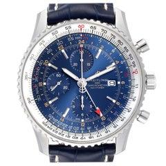 Breitling Navitimer World GMT Steel Blue Dial Watch A24322 Unworn