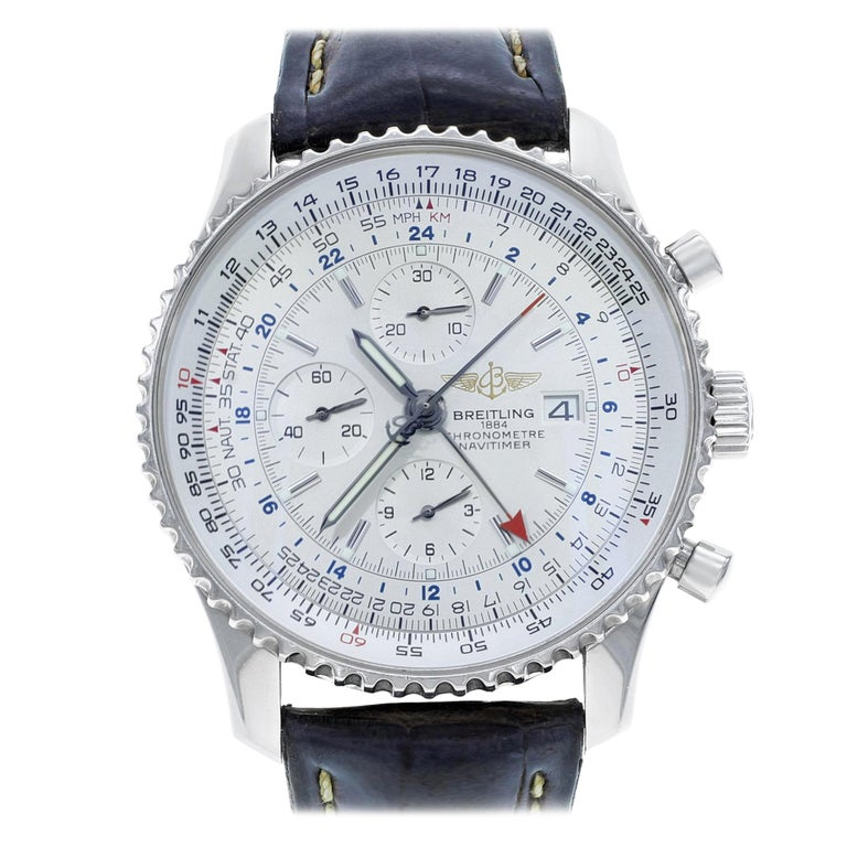 Breitling Navitimer World Time Steel Automatic A2432212 G571 441x Preowned Box