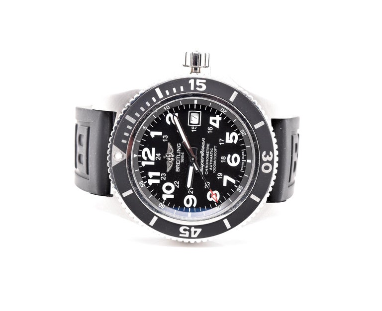 Brand: Breitling Movement: automatic Function: hours, minutes, seconds, date, chronometer, rotating timing bezel Case: round 44mm stainless steel case, scratch-resistant sapphire crystal, water-resistant to 100m,  push/pull crown, stainless steel
