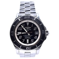 Breitling Stainless Steel Superocean Black Dial Watch A17364