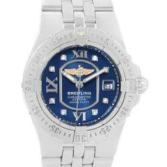 Breitling Starliner Blue Diamond Dial Steel Ladies Watch A71340