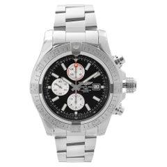 Breitling Super Avenger II Steel Chronograph Black Dial Mens Watch A13371111B1A1