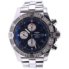 Breitling Super Avenger Stainless Steel with Custom Diamond Bezel Watch Ref. A13