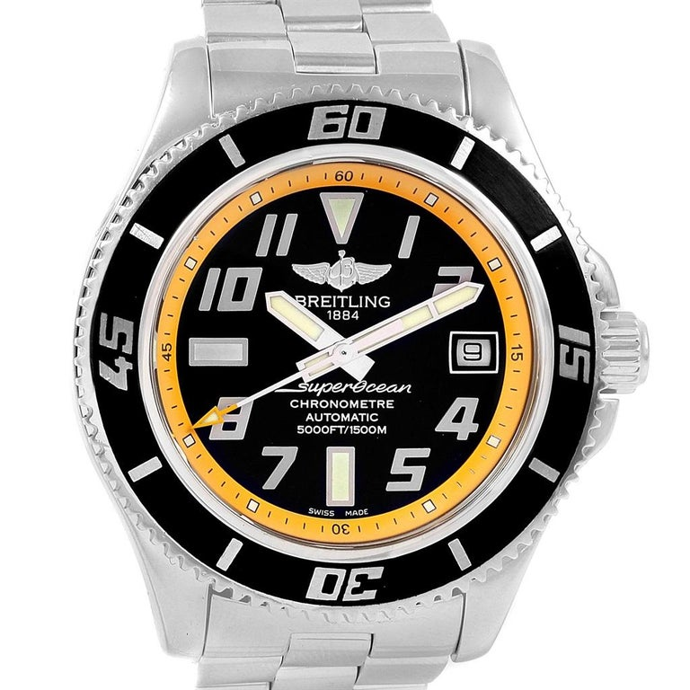 Breitling Superocean 42 Abyss Black Yellow Automatic Men's Watch A17364 For Sale 6