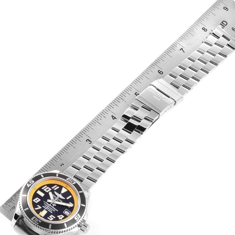 Breitling Superocean 42 Abyss Black Yellow Automatic Men's Watch A17364 For Sale 7
