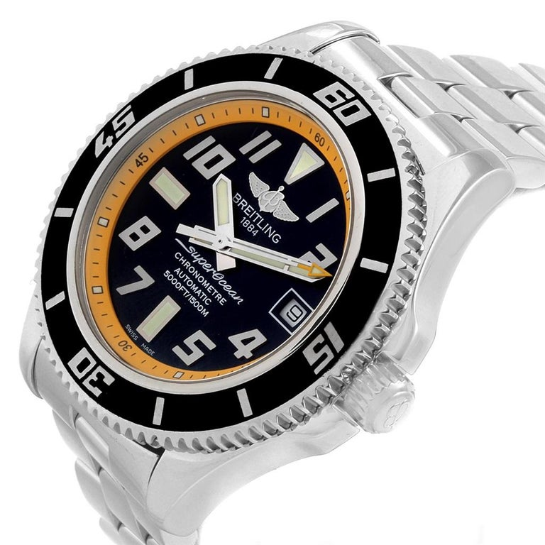 Breitling Superocean 42 Abyss Black Yellow Automatic Mens Watch A17364. Authomatic self-winding movement. Stainless steel case 42.0 mm in diameter. Stainless steel screwed-down crown and pushers. Stainless steel unidirectional revolving bezel. 0-60