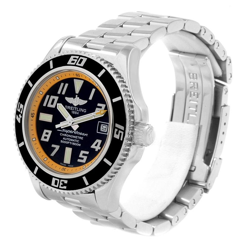 Men's Breitling Superocean 42 Abyss Black Yellow Automatic Men's Watch A17364 For Sale
