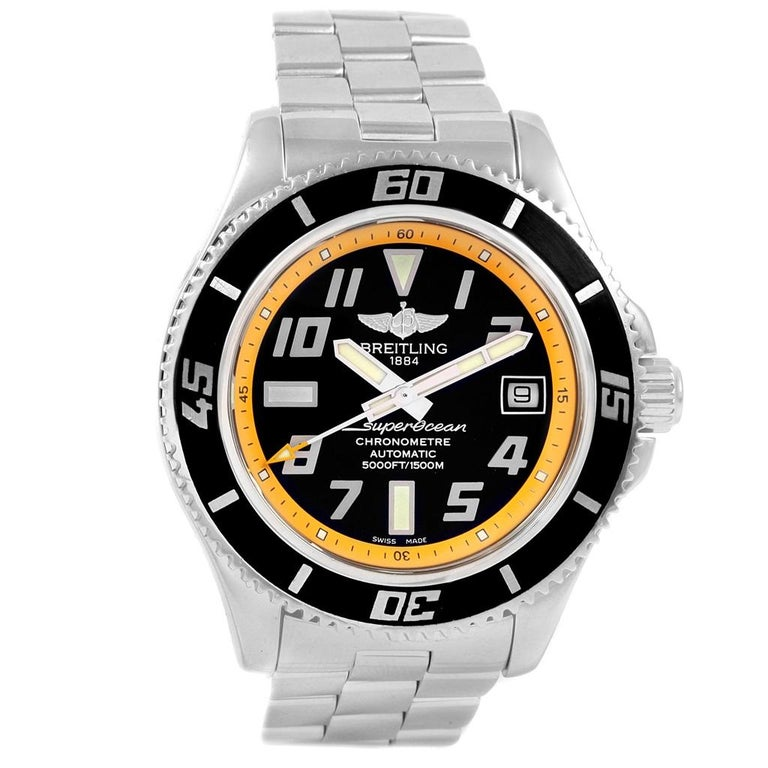 Breitling Superocean 42 Abyss Black Yellow Automatic Men's Watch A17364 For Sale 2