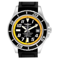 Breitling Superocean Abyss Black Yellow Steel Men's Watch A17364 Papers