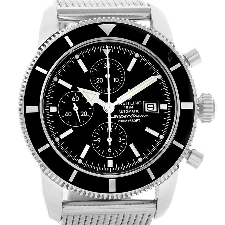 Breitling SuperOcean Heritage Chrono 46 Mens Watch A13320 Box Papers. Authomatic self-winding movement. Stainless steel case 46 mm in diameter. Stainless steel screwed-down crown. Lapidated lugs. Black unidirectional revolving bezel. Scratch