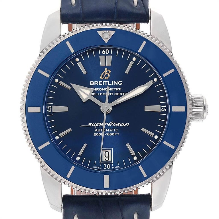 Breitling Superocean Heritage II 42 Steel Mens Watch AB2010 Box Papers. Automatic self-winding B20 movement. Stainless steel case 42.0 mm in diameter. Stainless steel screwed-down crown. Blue ceramic unidirectional revolving bezel. Scratch resistant
