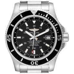 Breitling Superocean II 44 Black Dial Steel Men's Watch A17392 Box Papers