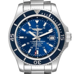 Breitling Superocean II Blue Dial Steel Mens Watch A17365 Box Papers