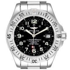 Breitling Superocean Steelfish Black Dial Men's Watch A17360 Box Papers