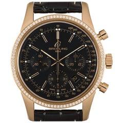 Breitling Transocean Chronograph 18 Karat Gold Black Dial Diamond Bezel RB0152