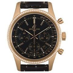 Breitling Transocean Chronograph 18k Rose Gold Black Dial Diamond Bezel RB0152