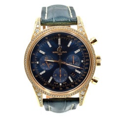 Breitling rose gold Transocean Chronograph self-winding Wristwatch