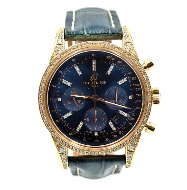 Breitling rose gold Transocean Chronograph self-winding Wristwatch