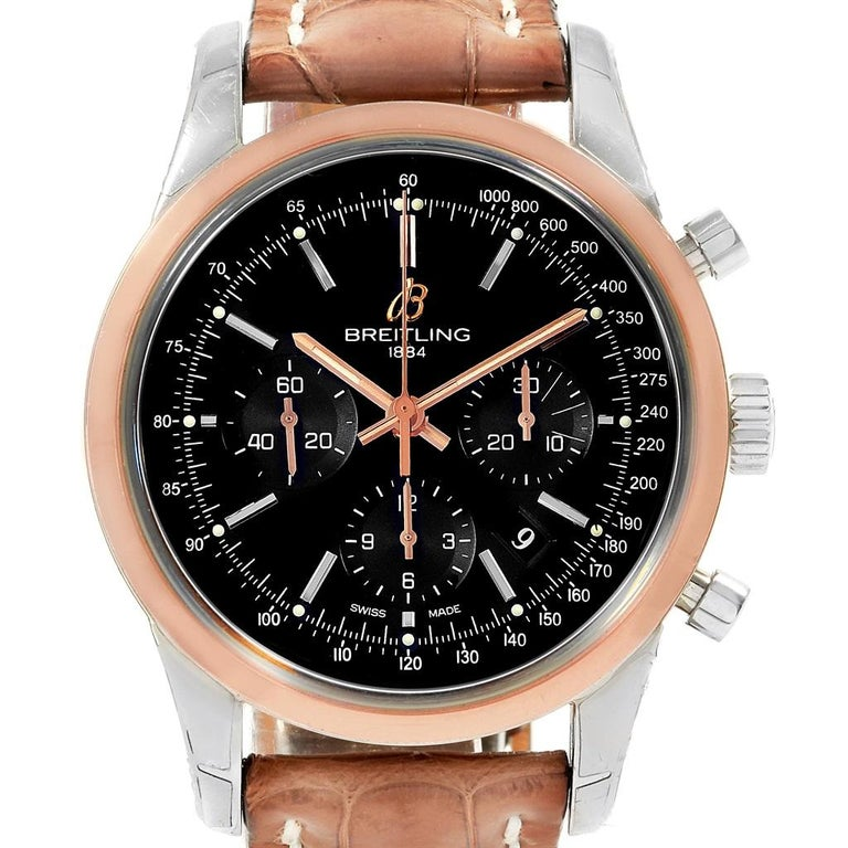 2ef253278c6 Breitling Transocean Chronograph Rose Gold Steel Men's Watch UB0152 For  Sale 6