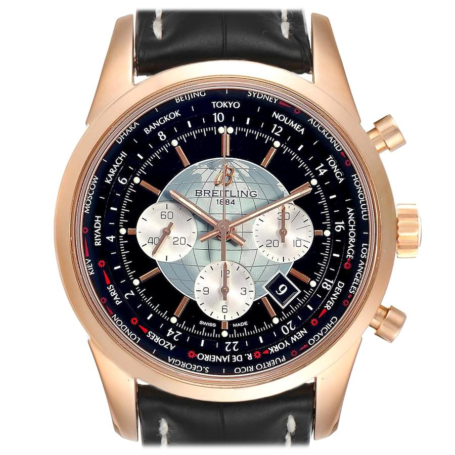 Breitling Transocean Chronograph Unitime Rose Gold Watch RB0510 Box Papers