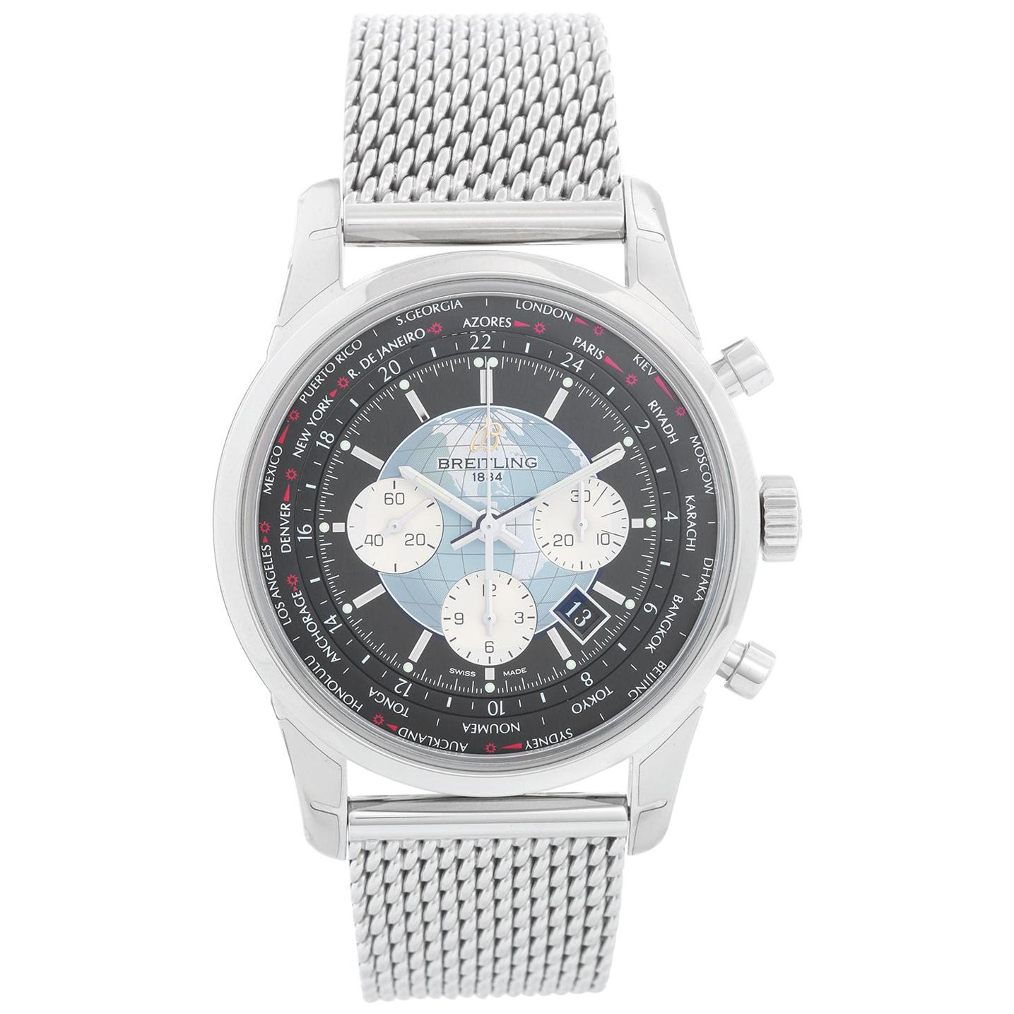 Breitling Transocean Chronograph Unitime Stainless Steel Watch AB0510U4.BB62.152