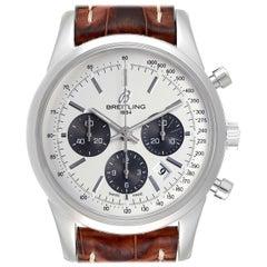 Breitling Transocean Panda Dial Chronograph Steel Men's Watch AB0152