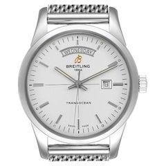 Breitling Transocean Silver Dial Mesh Bracelet Steel Men's Watch A45310