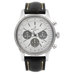 Breitling Transocean Steel Silver Dial Diamond Bezel Men's Watch AB015253/G724