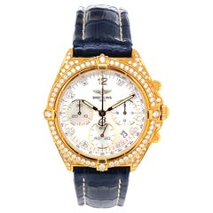 Breitling Windrider Sextant Diamond Gold Wristwatch Estate Fine Jewelry