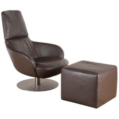 'Brend' Italian Leather Armchair and Footstool by Natuzzi Italia