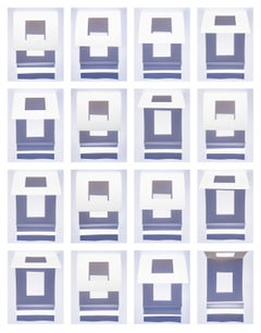 Grid Variation (wind effect) - Large, multi-panel abstract blue gray & white sky