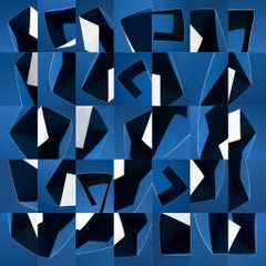 Modality No. 1 - Geometric blue & white abstract skyscape
