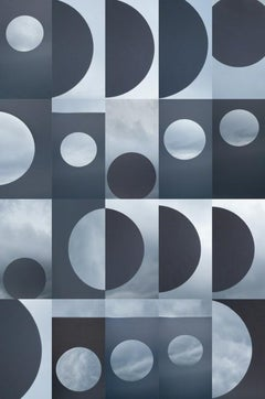 Modality no. 11 - Blue & white grid circle geometric abstract skyscape