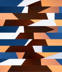 Modality No. 2 - Abstract, blue & orange geometric skyscape