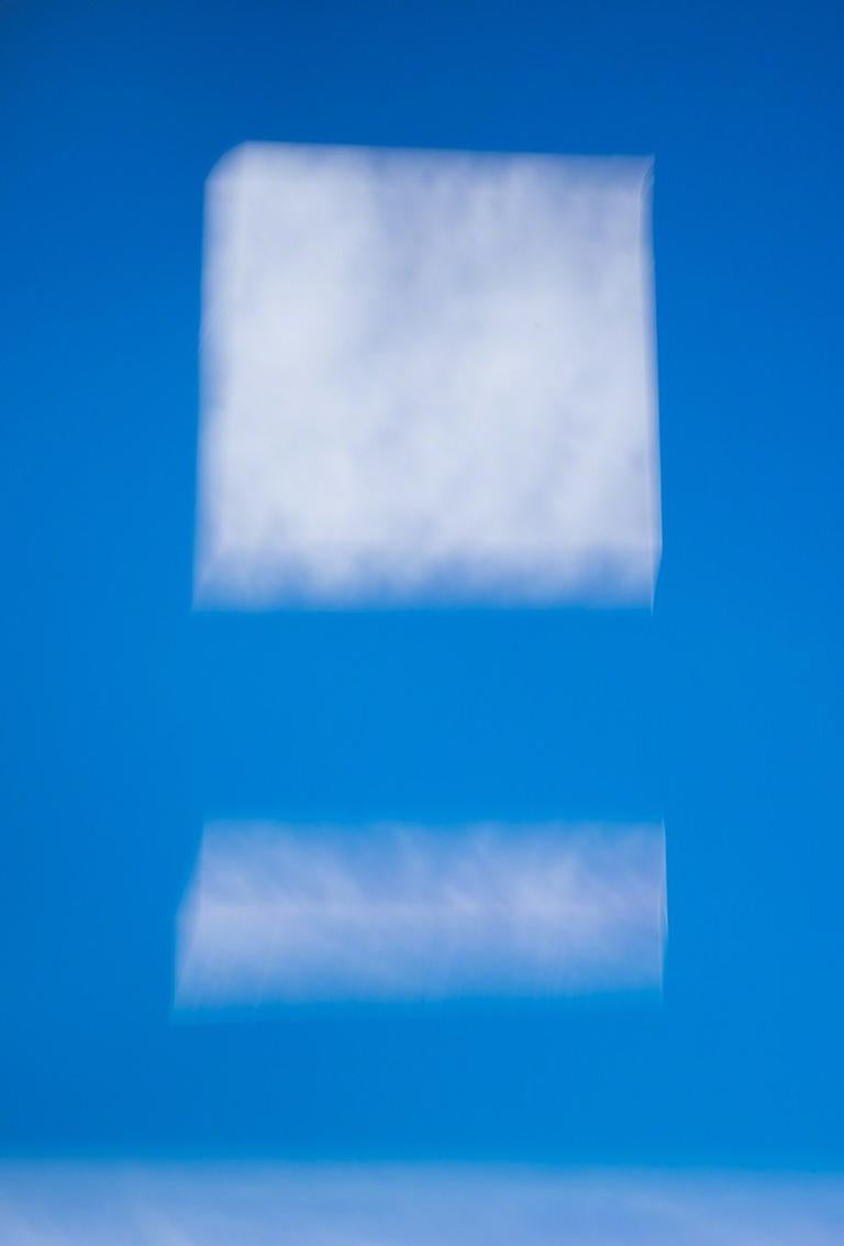 Moving Pictures No. 10 - Blue sky abstract with white rectangle clouds