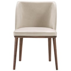 Brenda Chair in Ash Wood and White Leather by Studio Tecnico Pacini & Cappellini