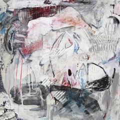 """""""Abstract I"""", Brenda Cirioni, mixed media, acrylic, abstract, white, black, grey"""
