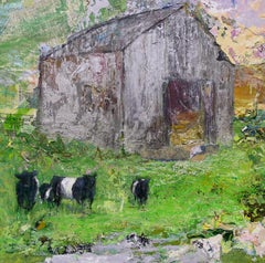 """Belted Galloway"", Brenda Cirioni, mixed media, landscape, barn, cows, green"