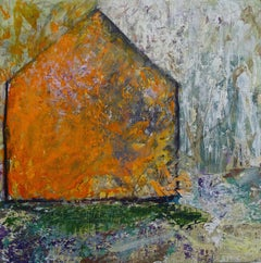 """Cover"", acrylic, mixed media, painting, landscape, orange barn, birches"