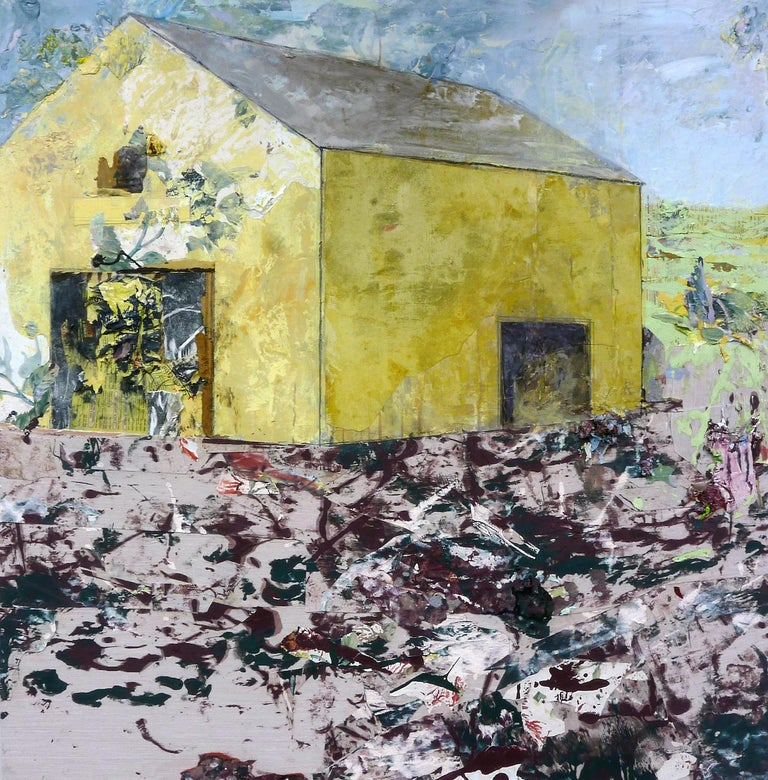 """Crow"", acrylic, mixed media, painting, landscape, barn, yellow, purple - Mixed Media Art by Brenda Cirioni"