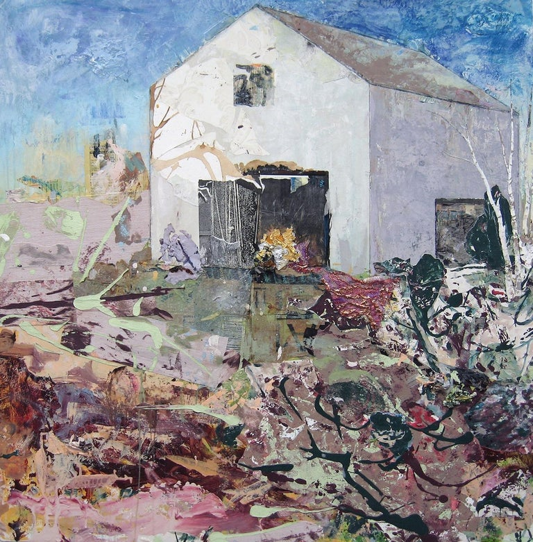 """Brenda Cirioni Abstract Painting - """"Dream"""", acrylic, mixed media, painting, landscape, barn, white, lilac"""